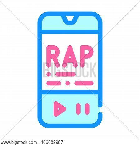 Listening Rap Music Phone App Color Icon Vector Illustration