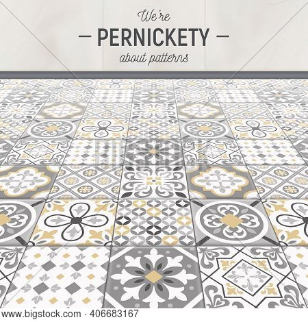 Realistic Ceramic Floor Tiles Background With Editable Text And Ceramic Veneer With Various Patterns