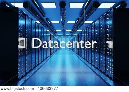 Datacenter Logo In Large Modern Data Center Multiple Rows Of Network Internet Server Racks, 3d Illus