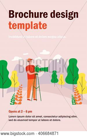 Happy Travel Photographer Taking Picture Of Mountain Isolated Flat Vector Illustration. Cartoon Man