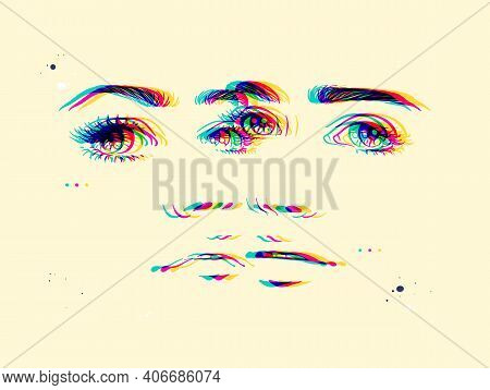 Abstract Female Faces. Woman Portrait. Glitch Effect. Double Exposure