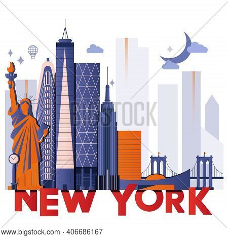 New York Culture Travel Night Set, Famous Architectures And Specialties In Flat Design. Business Tra