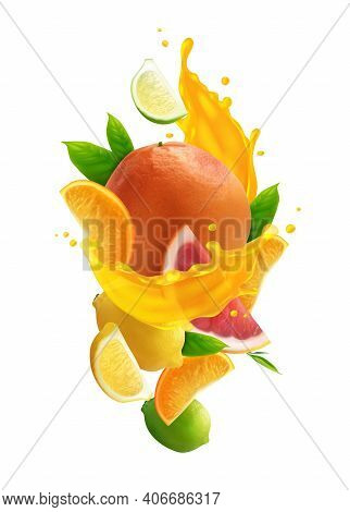 Citrus Juice Colored Composition With Realistic Fresh Fruits And Splash Of Juice On White Background