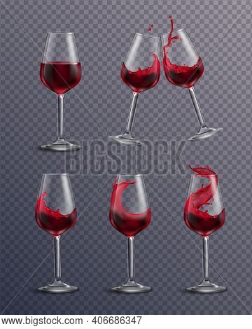 Wine Splash Glass Realistic Transparent Collection Of Isolated Drinking Glasses Filled With Red Wine