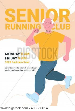 Senior Running Club Poster With Jogging Old Man