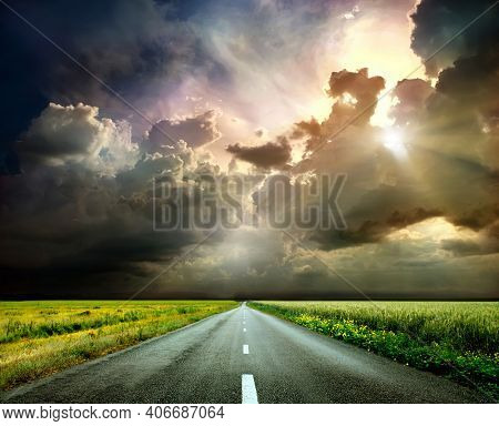 Landscape With Empty Asphalt Road Through Woodland In Fall. Travel. Road Trip. Summer Country Road W