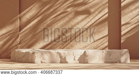 Product Podium Made Of Rock On Beige Wall With Tree Sunshade Shadow. Abstract Geometric Stone Stage