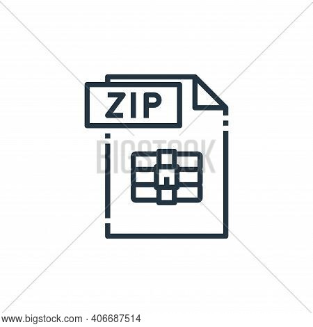 zip file icon isolated on white background from file type collection. zip file icon thin line outlin