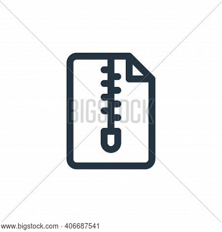 zip icon isolated on white background from document and files collection. zip icon thin line outline