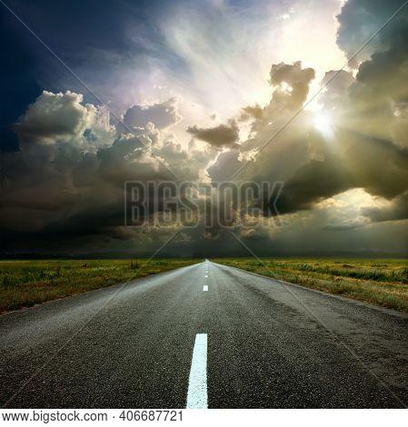 Rural Environment Road. Nature Road. Asphalt Road. Landscape With Empty Asphalt Road . Travel. Road