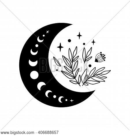 Floral Moon Logo. Moon Phase Flowers. Black Moon Icon. Celestial Crescent Isolated Element. Hand Dra