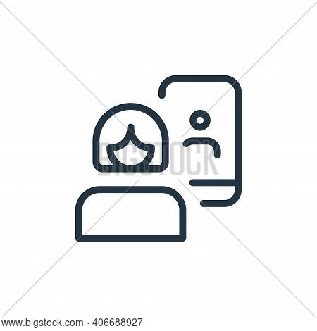 woman icon isolated on white background from work office and meeting collection. woman icon thin lin
