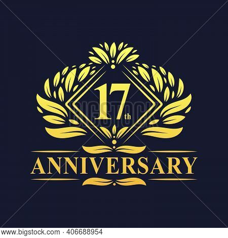 17 Years Anniversary Logo, Luxury Floral Golden 17th Anniversary Logo.
