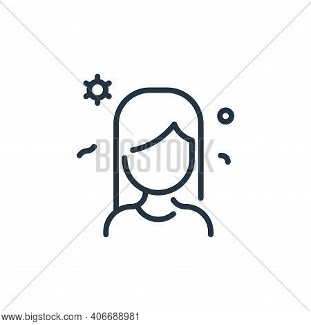 woman icon isolated on white background from coronavirus collection. woman icon thin line outline li
