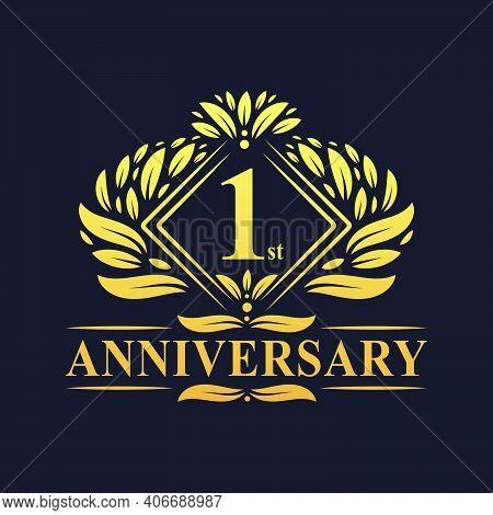 1 Year Anniversary Logo, Luxury Floral Golden 1st Anniversary Logo.