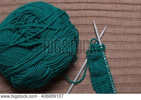 Knitting With Needles. Ball Of Yarn With Needles.