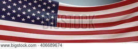Usa Flag Swaying Panoramic Full Frame. 3d Rendering American Flag Fluttering Full Frame.