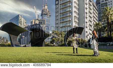 Melbourne, Australia - May 17, 2019: Visitors Enjoy The Modern Structures At The Park Near The Arts