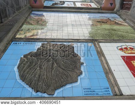 Firgas, Gran Canaria, Canary Islands, Spain December 13, 2020: View Of Relief Model Of The Canary Is