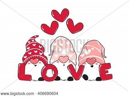 Cute Three Pink Gnome Love With Heart, Valentine Day, Cartoon Vector Illustration For Greeting Card,