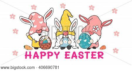 Three Cute Sweet Easter Bunny Gnome With Rabbit Ears, Happy Easter Cartoon Vector Banner
