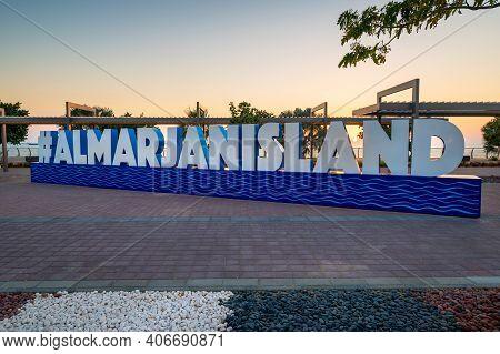 Ras Al Khaimah, United Arab Emirates - February 3, 2020: Al Marjan Island Sign In The Man Made Islan