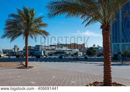 Ras Al Khaimah, United Arab Emirates - February 3, 2020: Groove Village Shopping And Leisure Area In