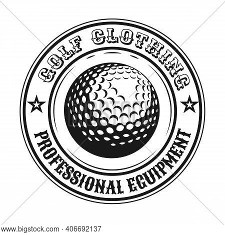 Creative Round Golf Emblem Or Sticker Vector Illustration. Vintage Label With Golf Ball Isolated Vec