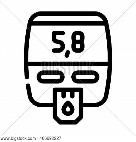 Blood Glucose Meter Device Line Icon Vector Illustration