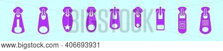 Set Of Zipper Pull Cartoon Icon Design Template With Various Models. Modern Vector Illustration Isol