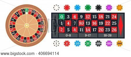 Casino Chips, Table Layout And Simplified 0-26 Little Wheel For Roulette Game Vector Illustration Se