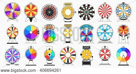 Spinning Fortune Wheel Layered For Animation. Spin To Win Game, Colorful Lucky Chance Wheels And Cas