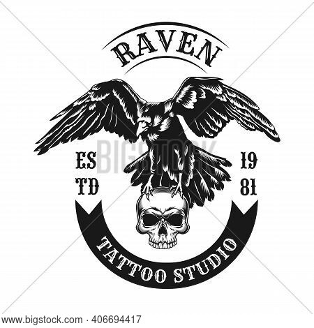 Raven Emblem Design. Monochrome Element With Wild Crow Carrying Skull Vector Illustration With Text.
