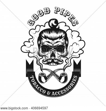Trendy Black Smoking Hipster Skull Vector Illustration. Retro Emblem With Skull In Glasses And Tobac