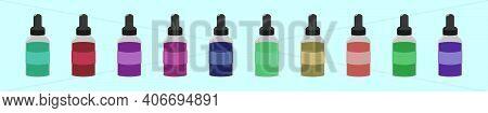 Set Of Liquid Vaporizer Cartoon Icon Design Template With Various Models. Modern Vector Illustration