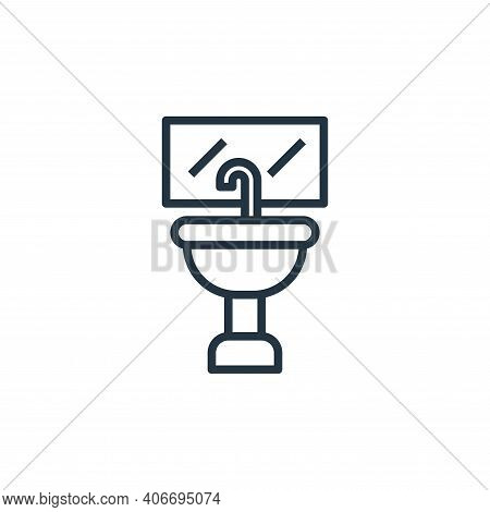 wash basin icon isolated on white background from laundry collection. wash basin icon thin line outl