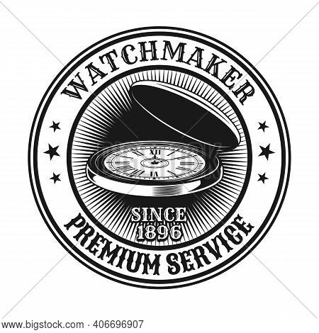 Watchmaker Stamp Design. Monochrome Element With Vintage Open Watch Vector Illustration With Text. W