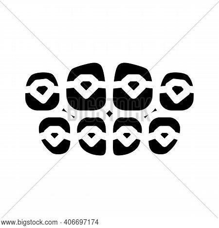 Onlays On Teeth Glyph Icon Vector Illustration