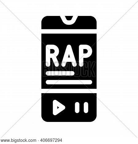 Listening Rap Music Phone App Glyph Icon Vector Illustration