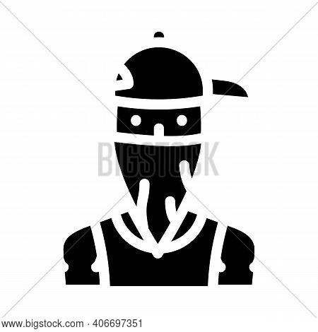 Gangsta Rapper Glyph Icon Vector Illustration Flat