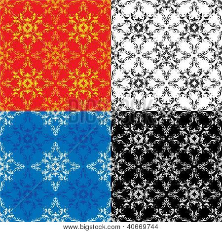 Set Of 4 Different Colors Seamless Textures - Vintage Ornamental Patterns