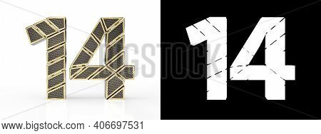 Gold Number Fourteen (number 14) Cut Into Perforated Gold Segments With Alpha Channel And Shadow On