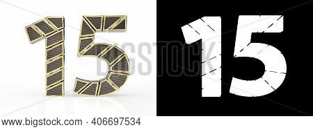 Gold Number Fifteen (number 15) Cut Into Perforated Gold Segments With Alpha Channel And Shadow On W