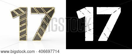 Gold Number Seventeen (number 17) Cut Into Perforated Gold Segments With Alpha Channel And Shadow On