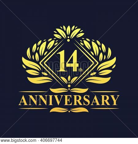 14 Years Anniversary Logo, Luxury Floral Golden 14th Anniversary Logo.