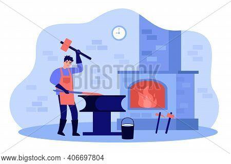 Professional Blacksmith Working With Sledge Hammer Flat Vector Illustration. Cartoon Male Smith Doin