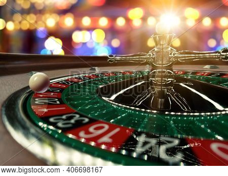 Inside of a spinning Roulette wheel close up at the Casino - Selective Focus