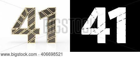 Gold Number Forty-one (number 41) Cut Into Perforated Gold Segments With Alpha Channel And Shadow On