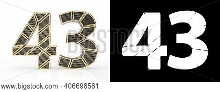 Gold Number Forty-three (number 43) Cut Into Perforated Gold Segments With Alpha Channel And Shadow