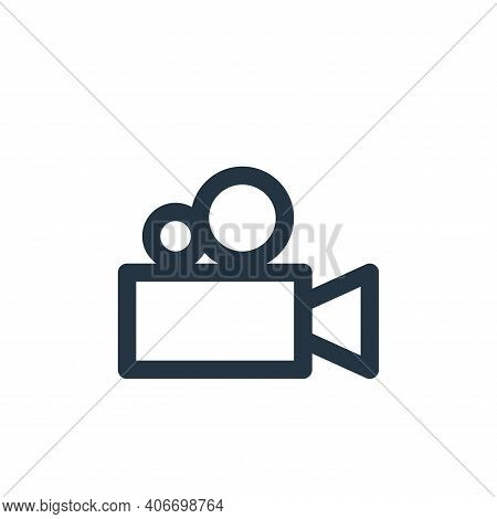 video camera icon isolated on white background from multimedia collection. video camera icon thin li